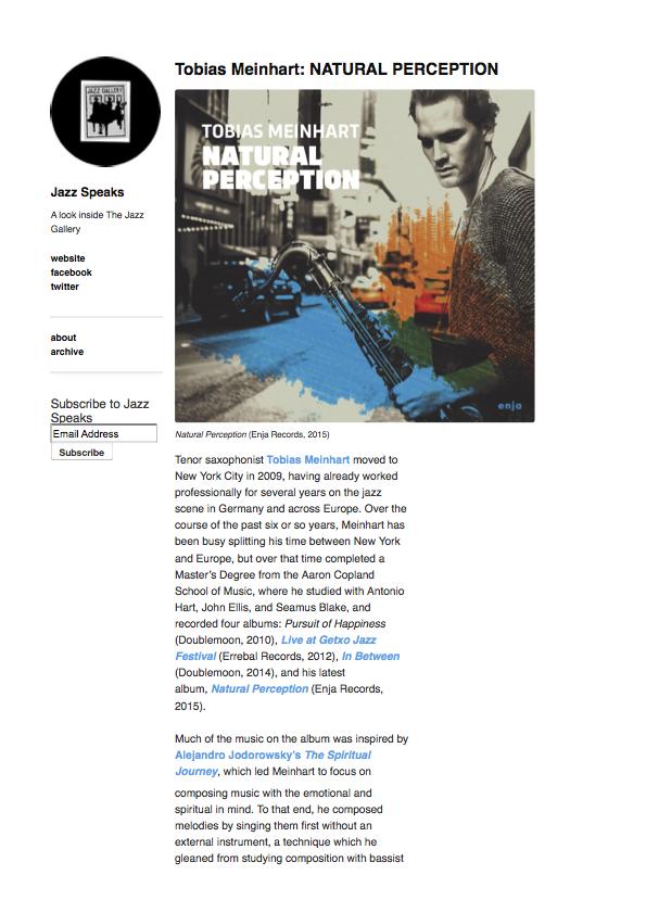 Tobias Meinhart: NATURAL PERCEPTION | Jazz Speaks